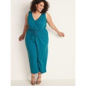 Waist-Defined Plus-Size Wrap-Front Bouclé Jumpsuit